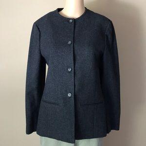 Pendleton virgin wool gray collarless blazer Sz S